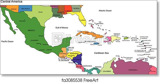 picture relating to Printable Map of Central America called No cost artwork print of Central The us in the direction of United states of america, Nations and Names