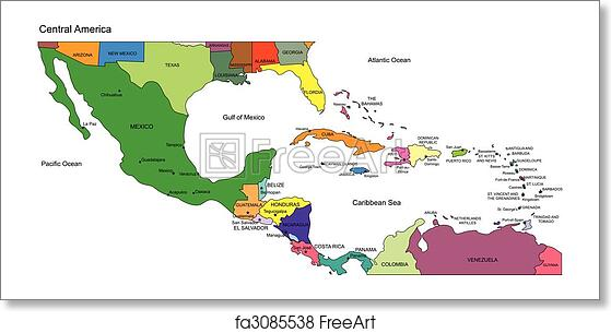 Free art print of Central America to USA, Countries and Names