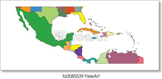 Free Art Print Of Central America To USA Countries Central - Map of mexico and central america