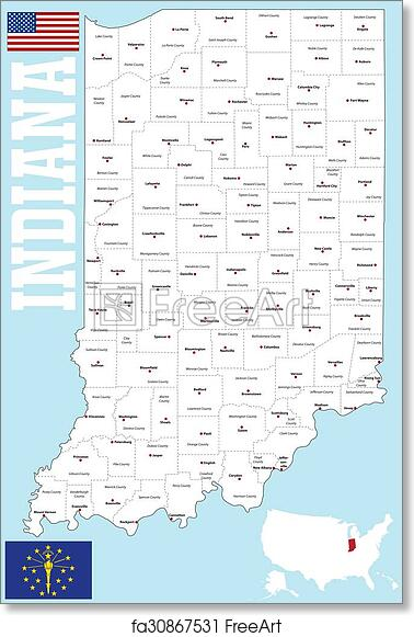 picture regarding Printable Map of Indiana named Cost-free artwork print of Indiana county map