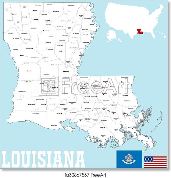 graphic relating to Printable Map of Louisiana named Absolutely free artwork print of Louisiana county map