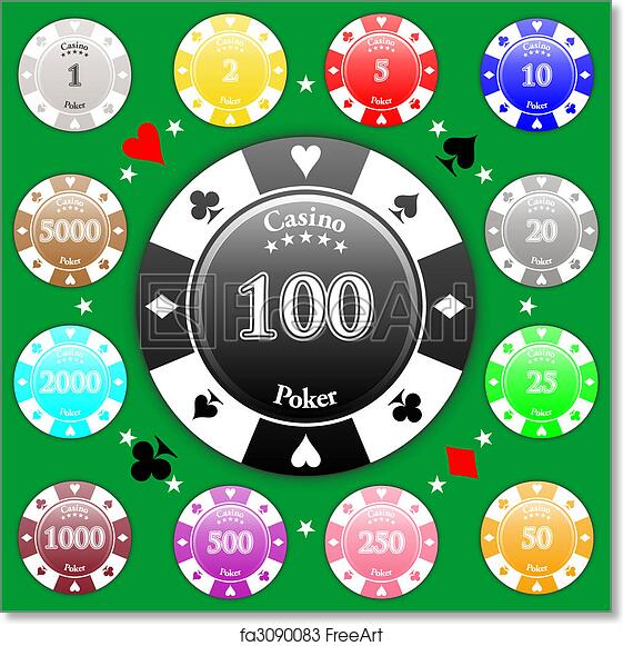 Free Art Print Of Poker Chips Set Of Poker Chips Of Value From 1