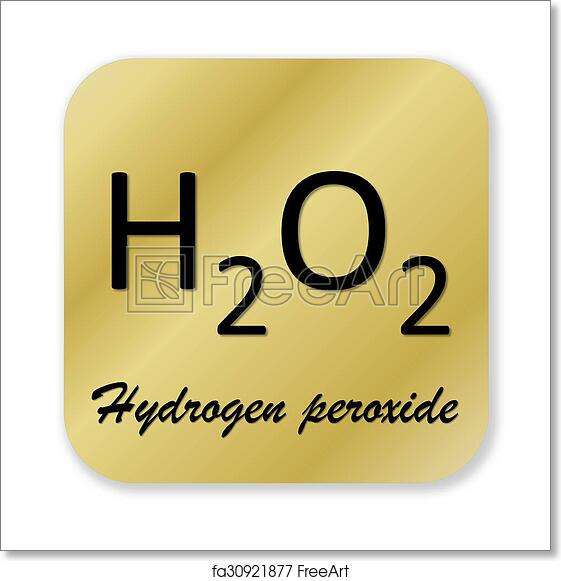 Free Art Print Of Hydrogen Peroxide Symbol Golden Chemical Formula