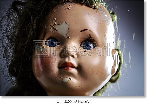 free art print of head of beatiful scary doll like from horror movie