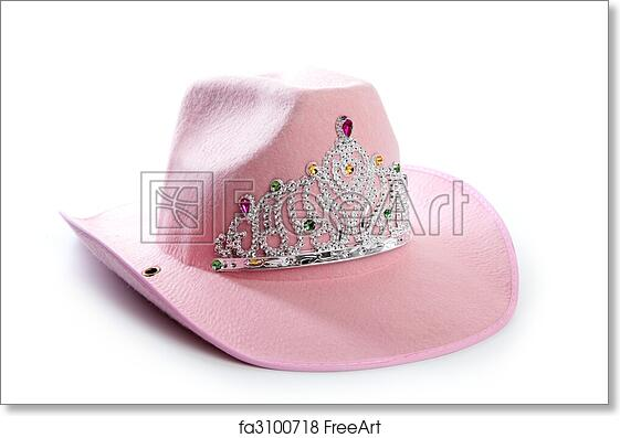 ae0ab9c9555 Free art print of Children girl pink cowgirl crown hat. Children girl pink  cowboy cowgirl hat with princess crown