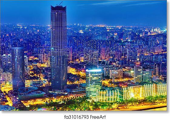 Poster Panorama Shanghai Night Skyline China Panoramic Fine Art Print Pudong