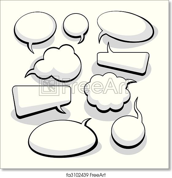 picture relating to Printable Thought Bubbles identify No cost artwork print of Speech And Idea Bubbles (vector)