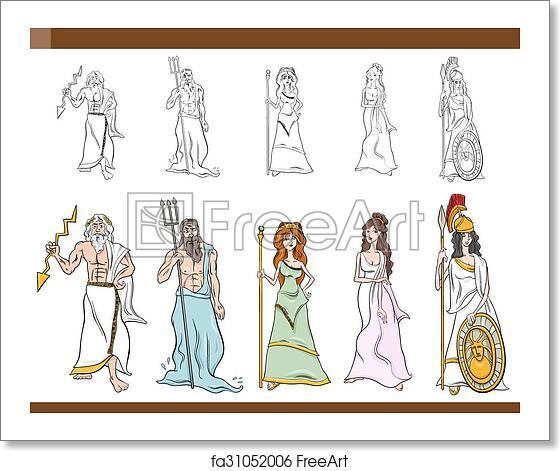 Free art print of Greek gods cartoon illustration