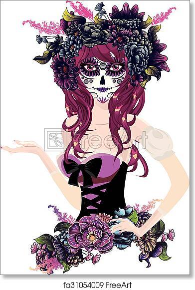 Title Fine Art Etching of a feminine sugar skull in a hat That\u2019s Her\u201d Original hand pulled print