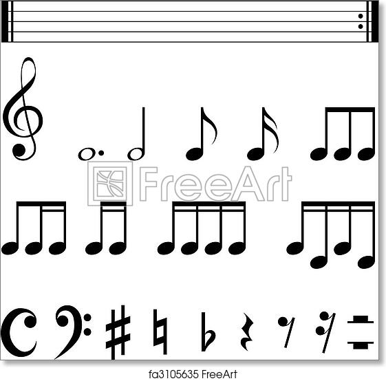 photo about Printable Music Notation referred to as No cost artwork print of Audio notation symbols