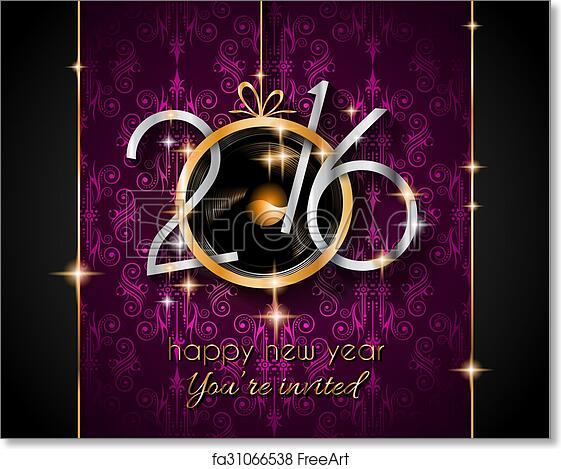 free art print of 2016 christmas and happy new year party flyer