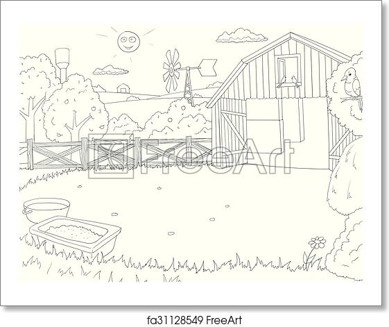free art print of cartoon farm color book black and white outline