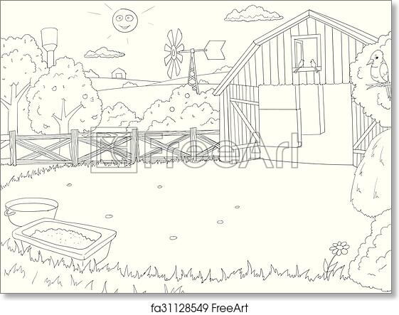 Free art print of Cartoon farm color book black and white
