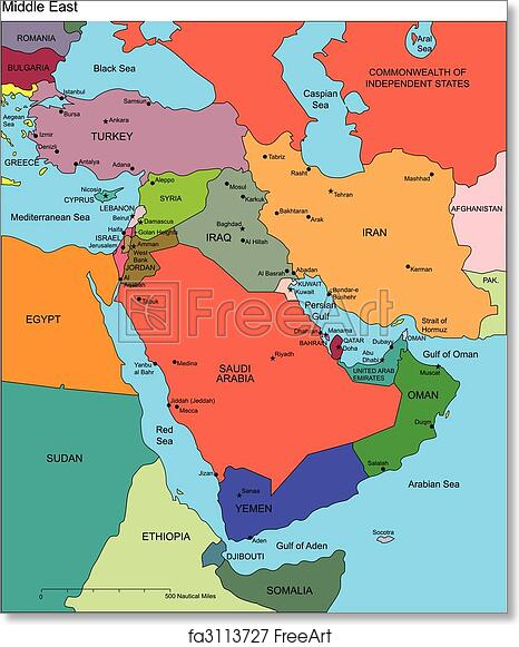 photograph regarding Printable Maps of the Middle East named Free of charge artwork print of Center East with Editable International locations, Names
