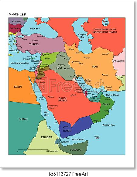 Free art print of Middle East with Editable Countries Names