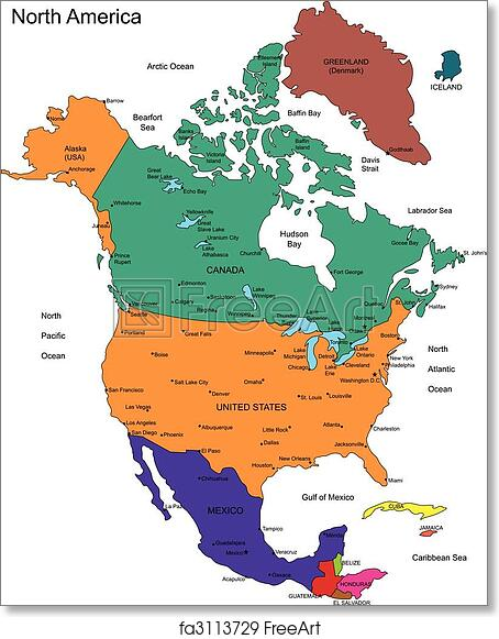 photograph regarding Printable Map of North America named Absolutely free artwork print of North The us with Nations around the world, Names