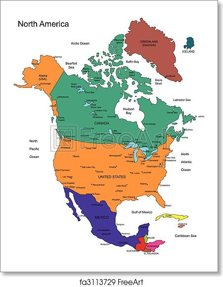 Free Art Print Of North America With Countries Names North - What countries are in north america