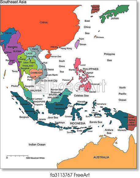 free art print of southeast asia with editable countries names simple map of asia europe africa colored asia map names