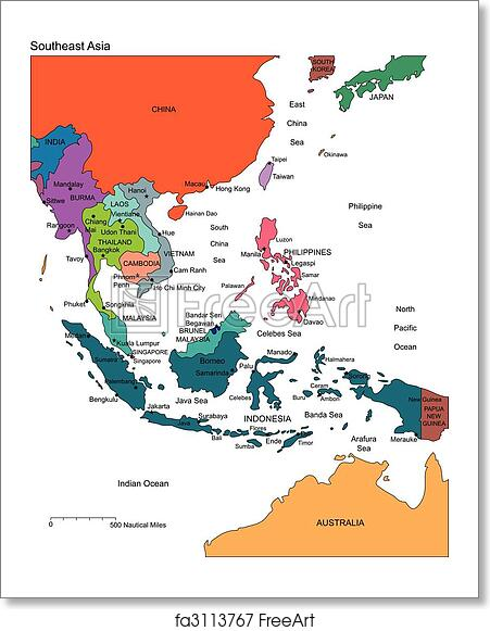 Free art print of Southeast Asia with Editable Countries, Names ...