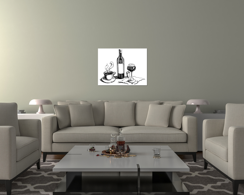 thumbnail 13 - Wine And Coffee On Art Print / Canvas Print. Poster, Wall Art, Home Decor - D