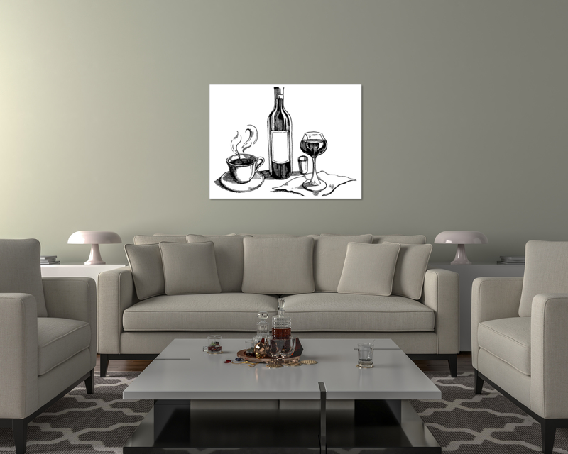 thumbnail 18 - Wine And Coffee On Art Print / Canvas Print. Poster, Wall Art, Home Decor - D