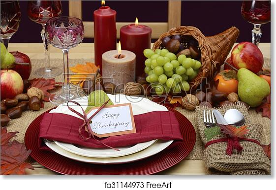 Free art print of Country style rustic Thanksgiving table setting ...