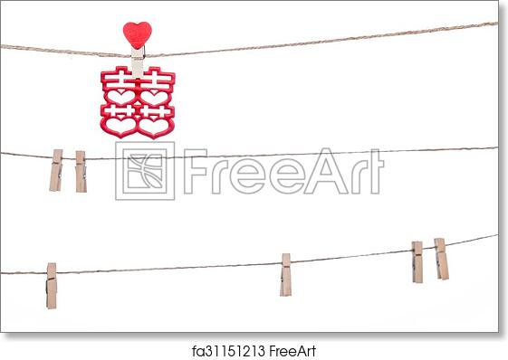 free art print of clip on a twine hanging chinese wedding