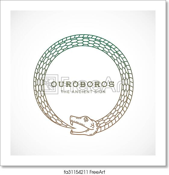 free art print of abstract vector ouroboros snake symbol sign or a