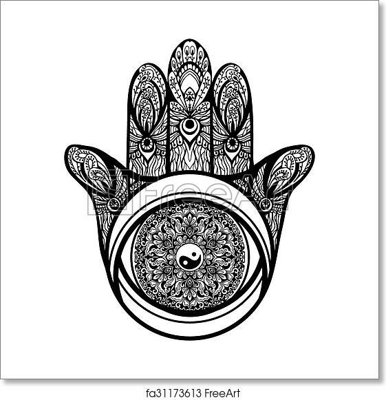 Free Art Print Of Hamsa Hand Illustration Muslim Religious Hamsa