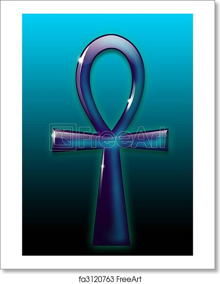 free art print of ankh ancient egyptian symbol with 3d effect on