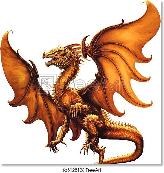 Free Art Print Of Medieval Dragon Vector Flying Dragon