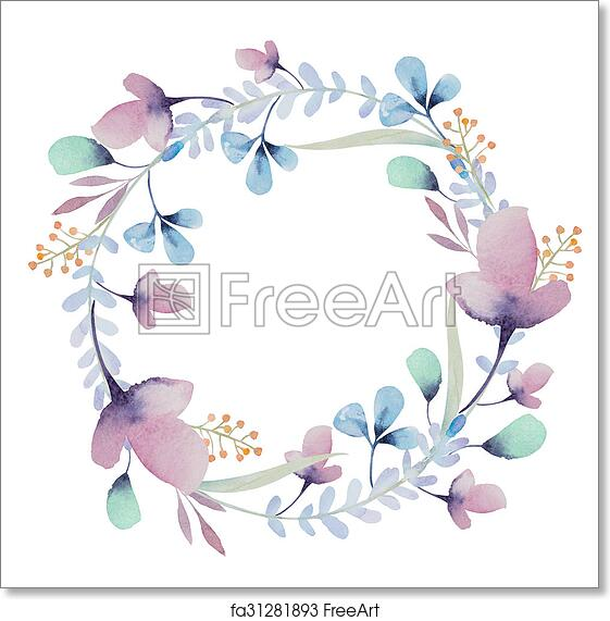 Free Art Print Of Watercolor Floral Frame Flowers In Wreath