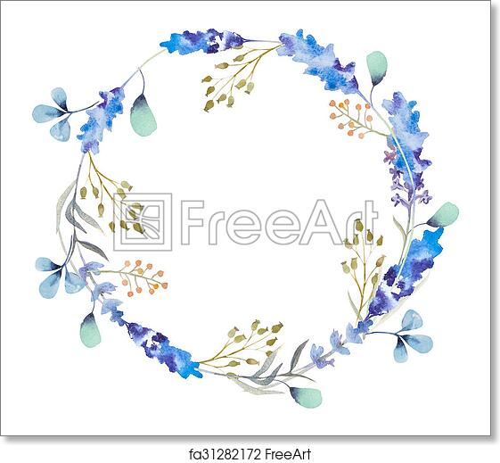 Free art print of Watercolor floral frame. Flowers in wreath ...