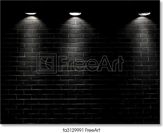 Free Art Print Of Spotlights On A Black Brick Wall