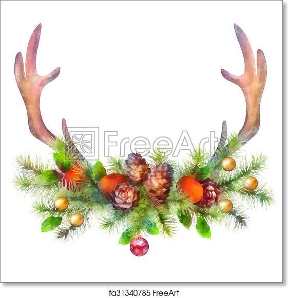Free Art Print Of Watercolor Christmas Garland And Deer Antler