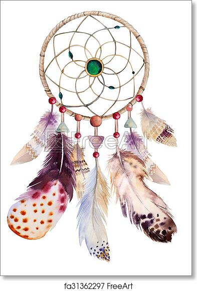 photo about Legend of the Dreamcatcher Printable referred to as No cost artwork print of Watercolor dreamcatcher with beads and feathers. Case in point fo