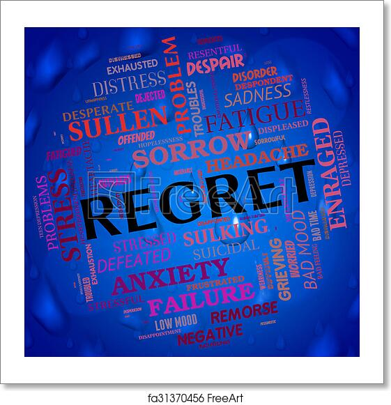 Free art print of Regret Word Shows Wordclouds Repentant And