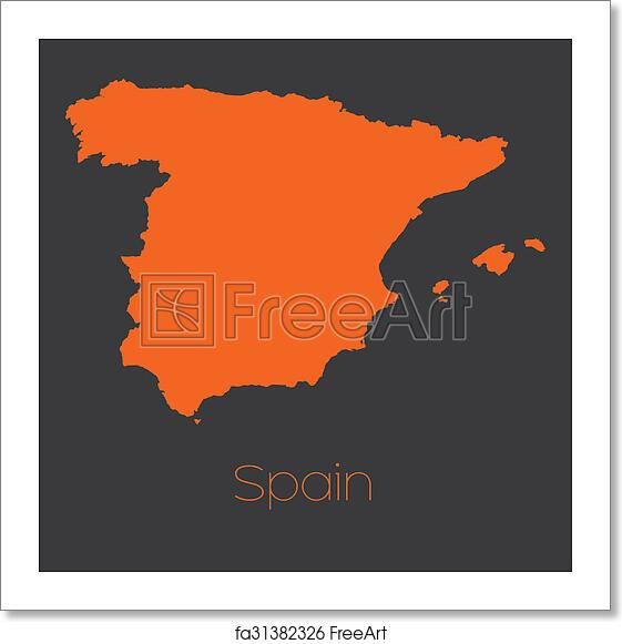 Country Of Spain Map.Free Art Print Of Map Of The Country Of Spain A Map Of The Country