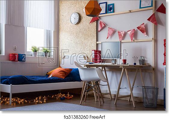 Free art print of Modern bedroom for teen boy