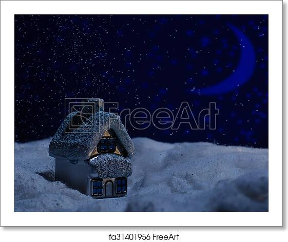 Free art print of Toy house stands in snow during the night of wool