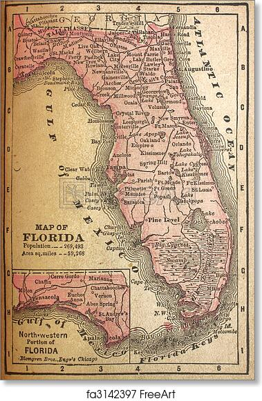 Florida Population Map.Free Art Print Of 1880 Map Of Florida Faded Map Of Florida In 1880