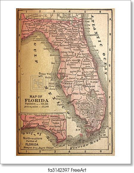 Print Map Of Florida.Free Art Print Of 1880 Map Of Florida Faded Map Of Florida In 1880