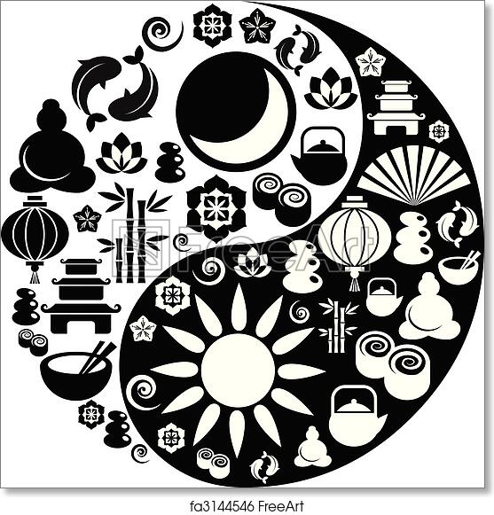 Free Art Print Of Yin Yang Symbol Made From Zen Icons Black And