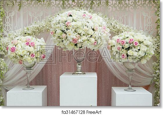 Free Art Print Of Flower Arrangement In Silver Bowl With Pink And