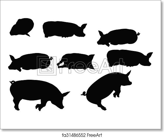 Free Art Print Of Pig Silhouette Vector Image Pig Silhouette In Lay Flat Pose Isolated On White Background Freeart Fa31486552 New users enjoy 60% off. free art print of pig silhouette