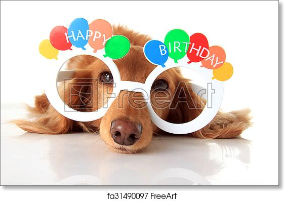 Free Art Print Of Happy Birthday Dog Dachshund Puppy Wearing Glasses Also Available In Vertical