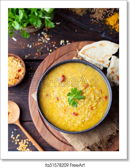 Free art print of Red lentil Indian soup with flat bread  Masoor dal