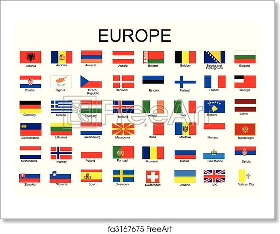 free art print of list of all european country flags freeart