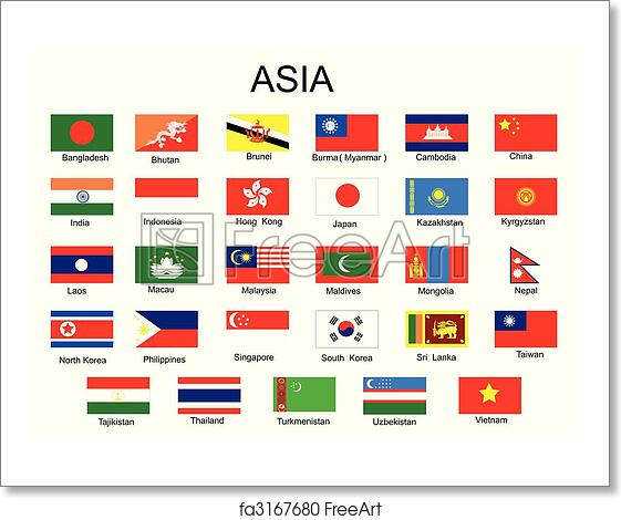 free art print of list of all asian country flags without middle