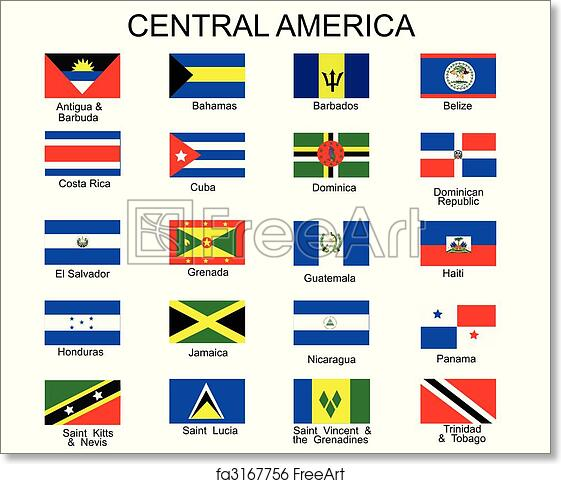 photograph relating to Printable Flags identify Totally free artwork print of Record of all flags of Central The united states nations
